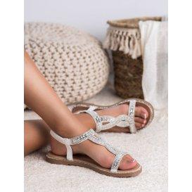 Nazúvacie sandále s kryštálmi