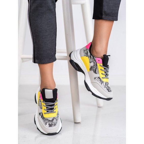 Viacfarebné sneakersy s haďou potlačou