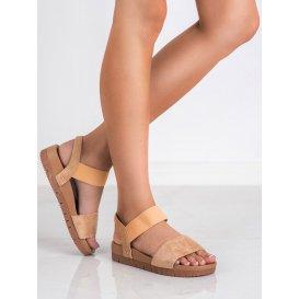 Semišové sandále s gumičkou
