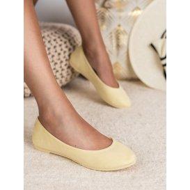 Svetlo žlté semišové baleríny Vices