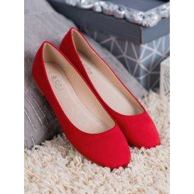 Červené semišové baleríny