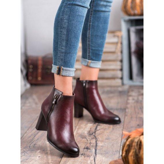 Bordové topánky na podpätku