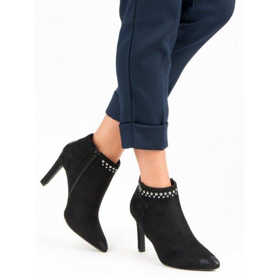 Semišové topánky na podpätku Vinceza YQE19-1776B