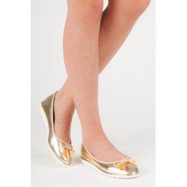 Zlaté baleríny so strapcami 20-296GO