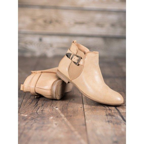 Členkové topánky z eko kože so sponou