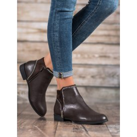 Dámske členkové topánky v hnedom odtieni