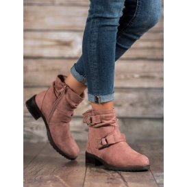 Členkové semišové topánky v púdrovom odtieni