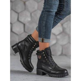 Dámske vojenské členkové topánky na podpätku