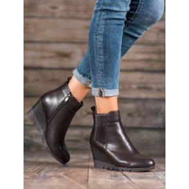 Dámske členkové topánky s tmavohnedým odtieňom