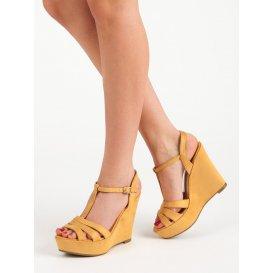Semišové horčicové sandále