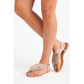 Strieborné sandále žabky