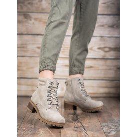 Členkové topánky s kožúškom v odtieni béžovej