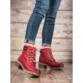 Členkové topánky s kožúškom v červenom odtieni