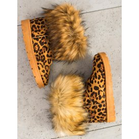 Snehule s kožušinkou a leopardím vzorom