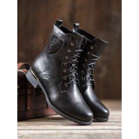 Šnurovacie členkové topánky s kryštálmi
