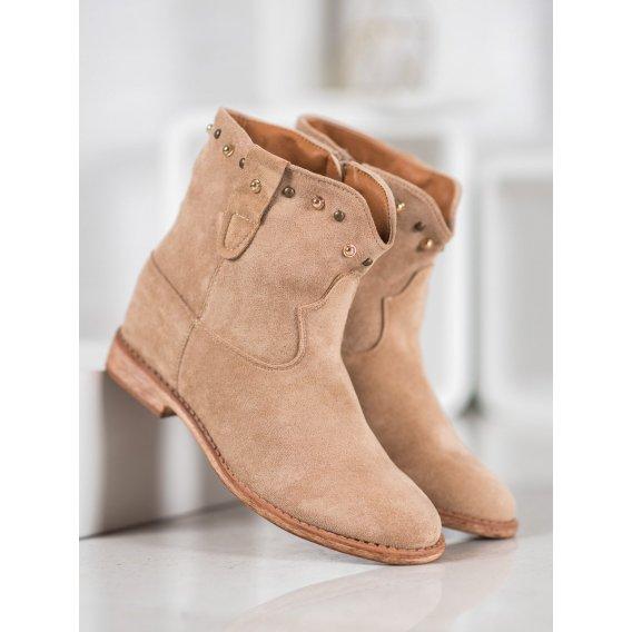 Semišové členkové topánky s covkmi