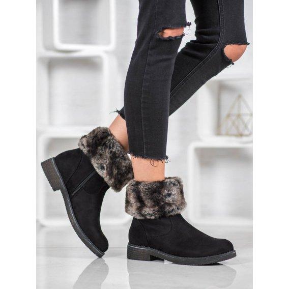 Semišové topánky s kožušinkou