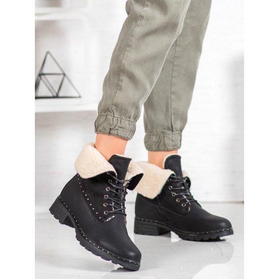 Čierne členkové topánky s kožúškom