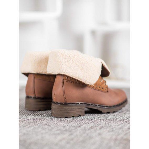 Hnedé členkové topánky s kožúškom