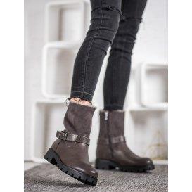 Šedé vysoké topánky s kožúškom