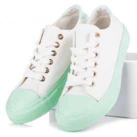 Biele tenisky na zelenej platforme AB-133W/GR