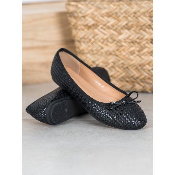 Pletené čierne baleríny