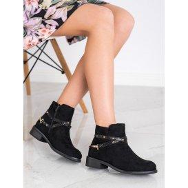 Módne čierne členkové topánky