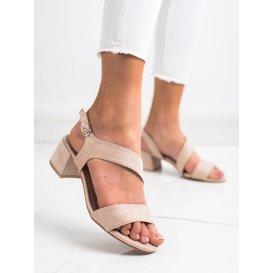 Béžové sandálky na nízkom stĺpci