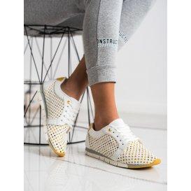 Bielo-žlté dierkované tenisky