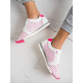Bielo-ružové dierkované tenisky