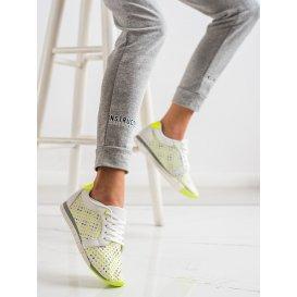 Bielo-zelené dierkované tenisky