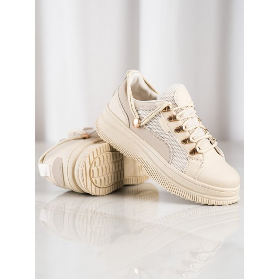 Béžové sneakersy na platforme