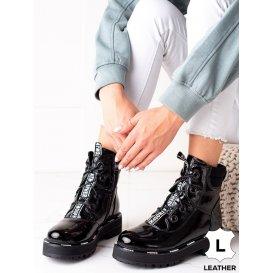 Kožené čierne členkové topánky