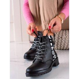 Šnúrovacie členkové topánky z eko kože